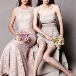 Watters lace bridesmaids dresses in blush