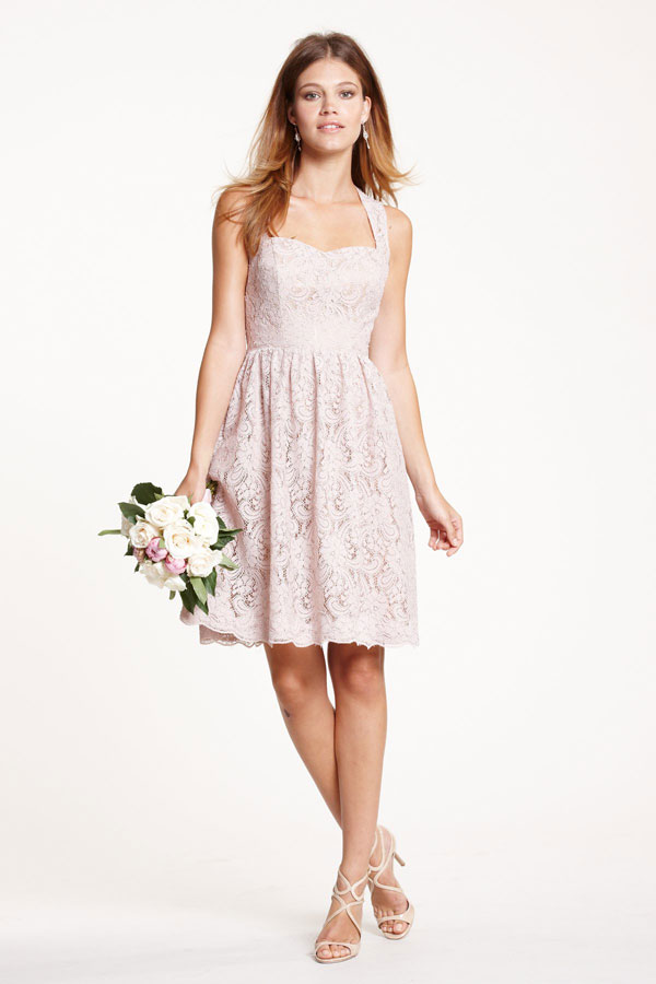 blush sweetheart lace bridesmaids dresses from watters