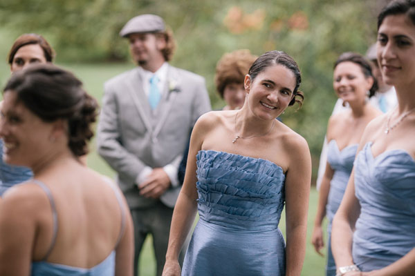 strapless short bridesmaid dresses in french blue- photo by michael tallman