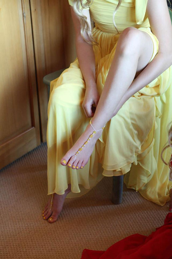 bridesmaid dress by dessy group in yellow- - photo by jacque lynn