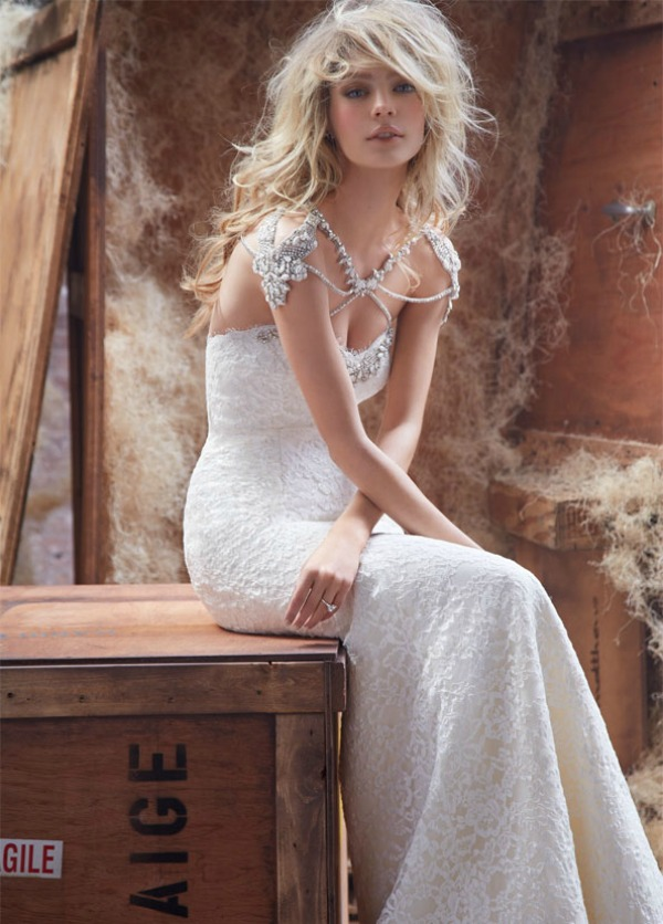 Hayley Paige lace wedding dress with beaded detail