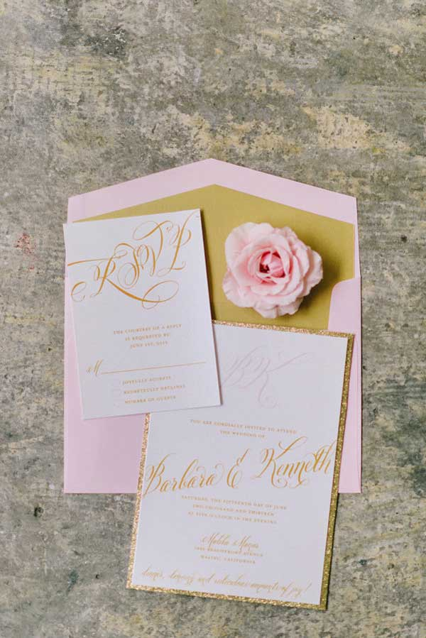 pink and gold wedding invitations for barbie themed wedding