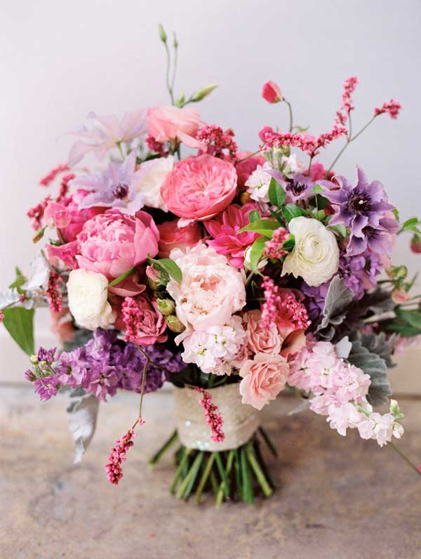pink and purple wedding bouquet utah wedding